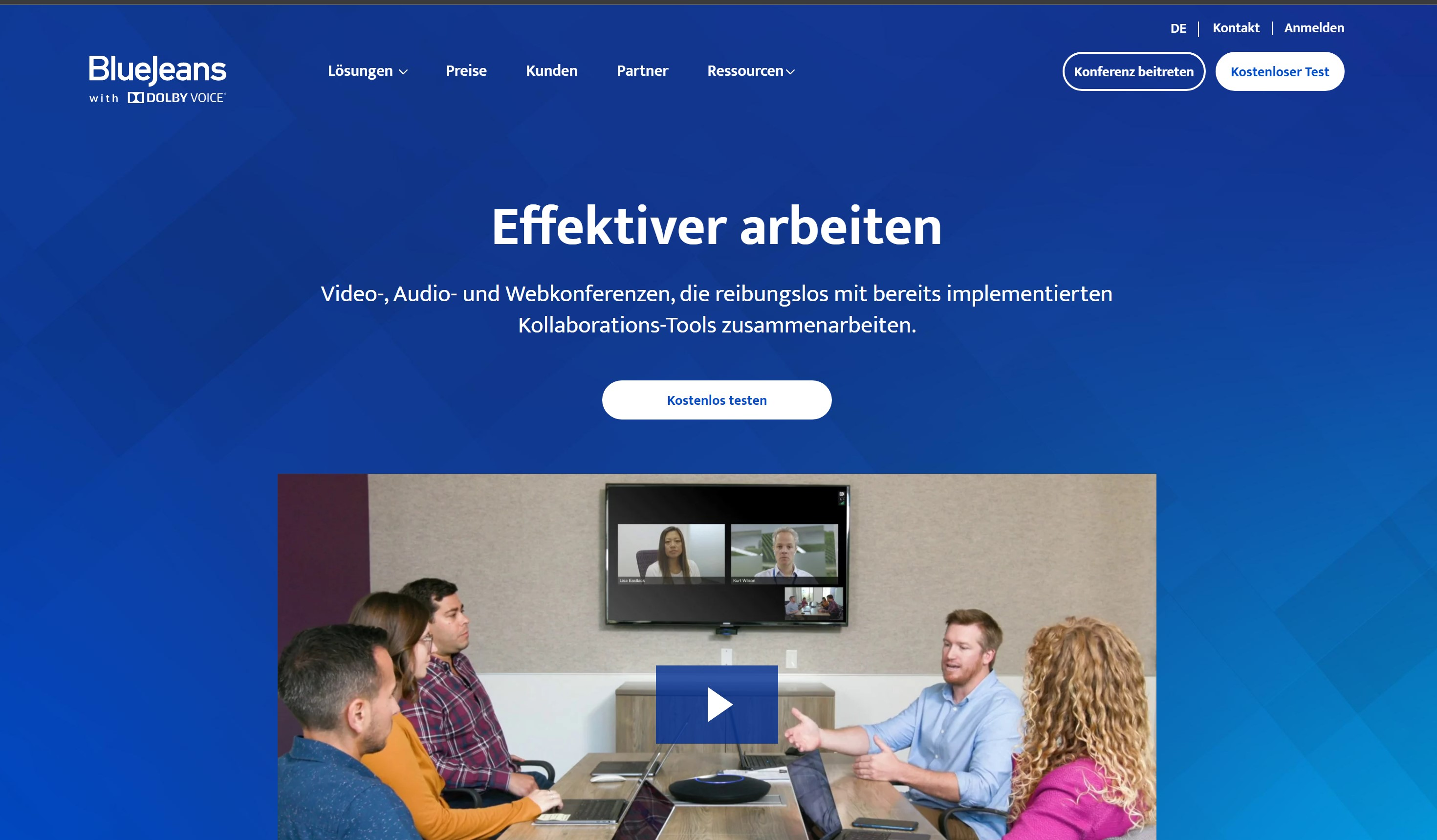 BlueJeans Website auf Laptop